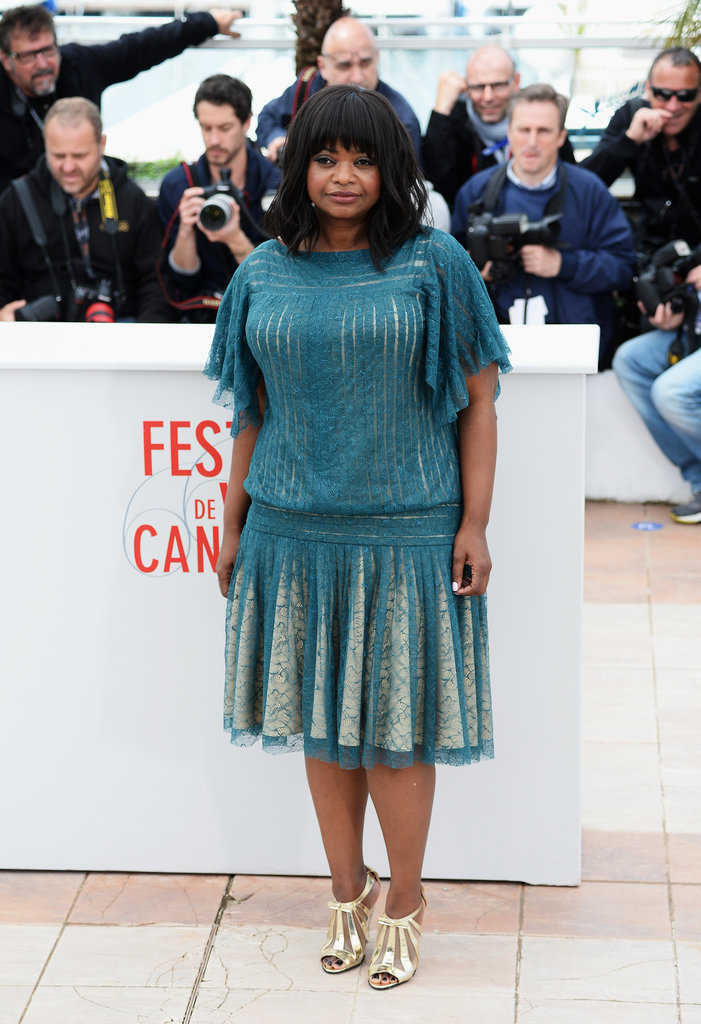 Octavia Spencer was lovely in a turquoise pleated lace dress by Tadashi Shoji and gold peep-toe booties at the Fruitvale Station photocall.