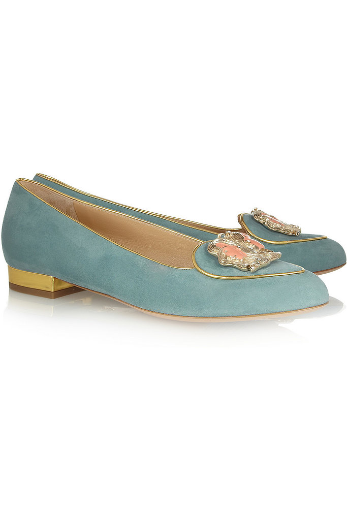 These Charlotte Olympia Gemini suede slippers ($695) hail from the label's cosmic shoe collection. Not only are they adorable, but also, they're a perfect conversation starter.