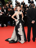 Zhang Ziyi made an entrance in a bold, two-toned Carolina Herrera gown at the premiere of The Bling Ring.