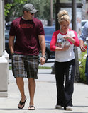 Britney Spears and her little pup were joined by David Lucado in LA on Thursday.