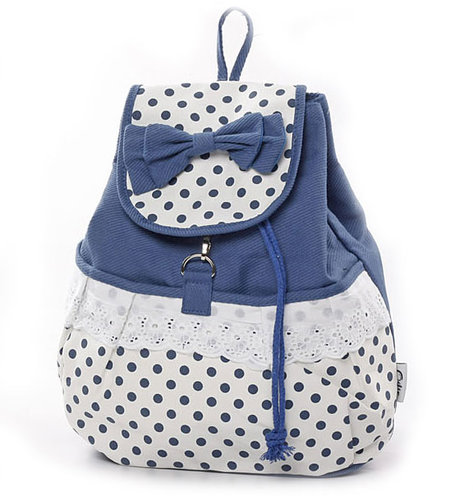 Fresh Sweet  Dot Lace Bow Backpack big sale