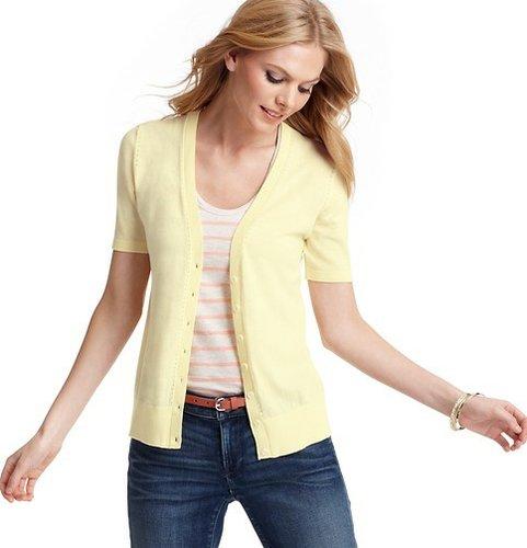 Petite Pointelle Short Sleeve Cotton Cardigan