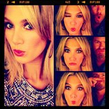 Delta Goodrem got selfie happy on the set of The Voice. Source: Instagram user deltagoodrem