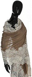 Taupe Lace Shawl