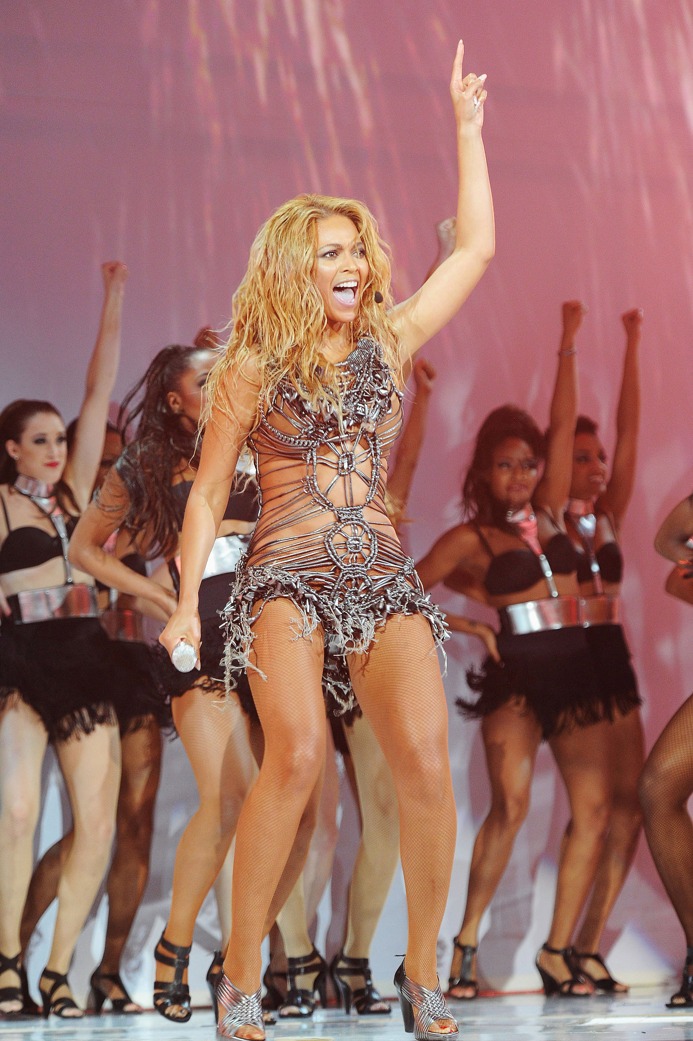 Beyoncé Knowles commanded the stage with dancers at the Billboard Music Awards in May 2011.