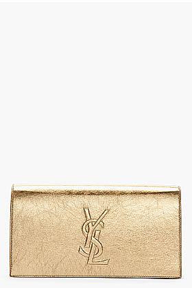SAINT LAURENT Metallic gold Kangaroo leather belle de jour clutch