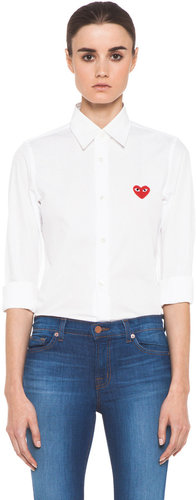 Comme Des Garcons PLAY Button Down with Red Emblem in White