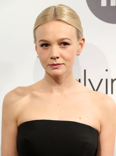 At the Calvin Klein party, Carey Mulligan went bare bones with her makeup look.