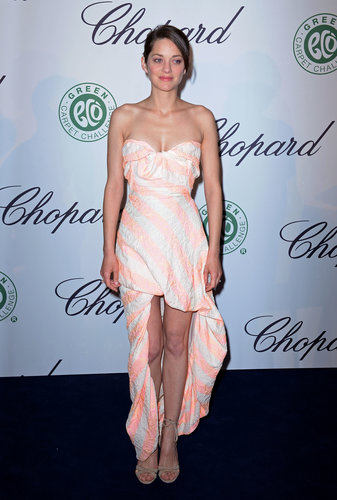 Marion Cotillard's striped strapless Vivienne Westwood gown had a distinctly Summer feel at the Chopard luncheon.