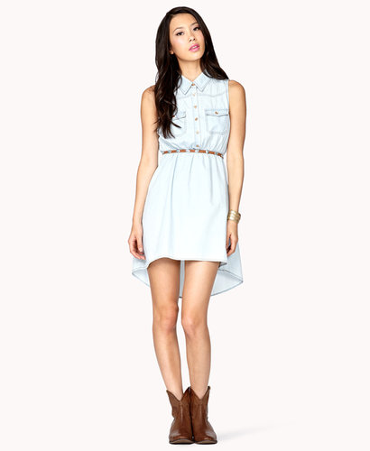 FOREVER 21 High-Low Denim Shirt Dress