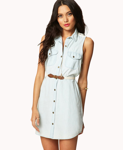 FOREVER 21 Crocheted Denim Shirt Dress w/ Belt