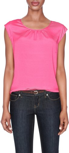 Shirred-Neck Layering Top