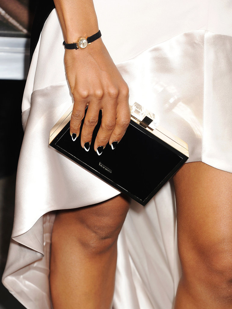 Kerry Washington went for a black-and-white chevron nail design at the premiere of her latest film, Peeples. You create a similar look with a combination of nude and white or sheer pink and shimmer. The possibilities are endless.