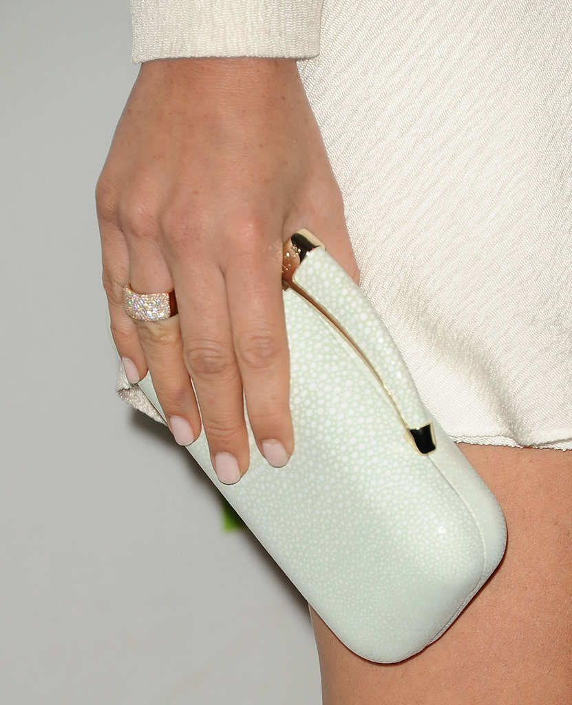 Olivia Munn's sheer nude nails are the perfect way to complement an ivory gown and your wedding day jewels.