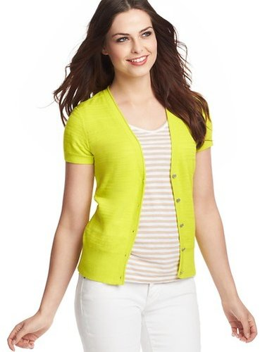 Textured Short Sleeve Cardigan