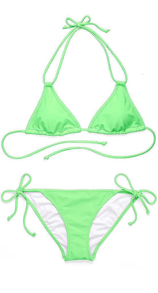 The neon green hue of this Victoria's Secret  triangle top ($23) and bottom ($19) almost seems to glow.