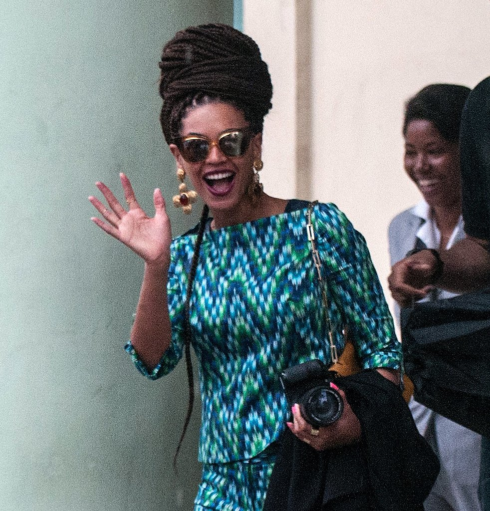 While vacationing in Cuba, Beyoncé protected (and styled up) her eyes via a pair of Dita tortoiseshell cat-eye sunglasses. Her exact pair is no longer available but you can score them in brown and yellow here ($350).