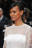 At the Jeune & Jolie premiere, model Liya Kebede wore a sleek ponytail with sideswept bangs.