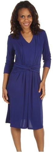 Jones New York - 3/4 Sleeve Fit and Flare Dress (Dark Cerulean) - Apparel