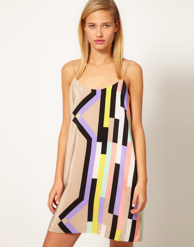 Tibi Silk Slip Dress In Graphic Print