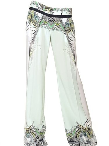 Printed Silk Crepe De Chine Trousers