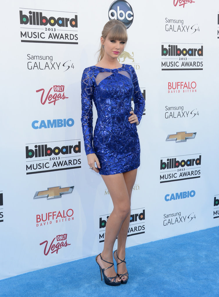 Taylor Swift showed off her sassy side in a vibrant blue beaded Zuhair Murad minidress from the Pre-Fall '13 collection.