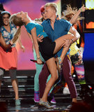 A dancer dipped Taylor Swift during her performance.
