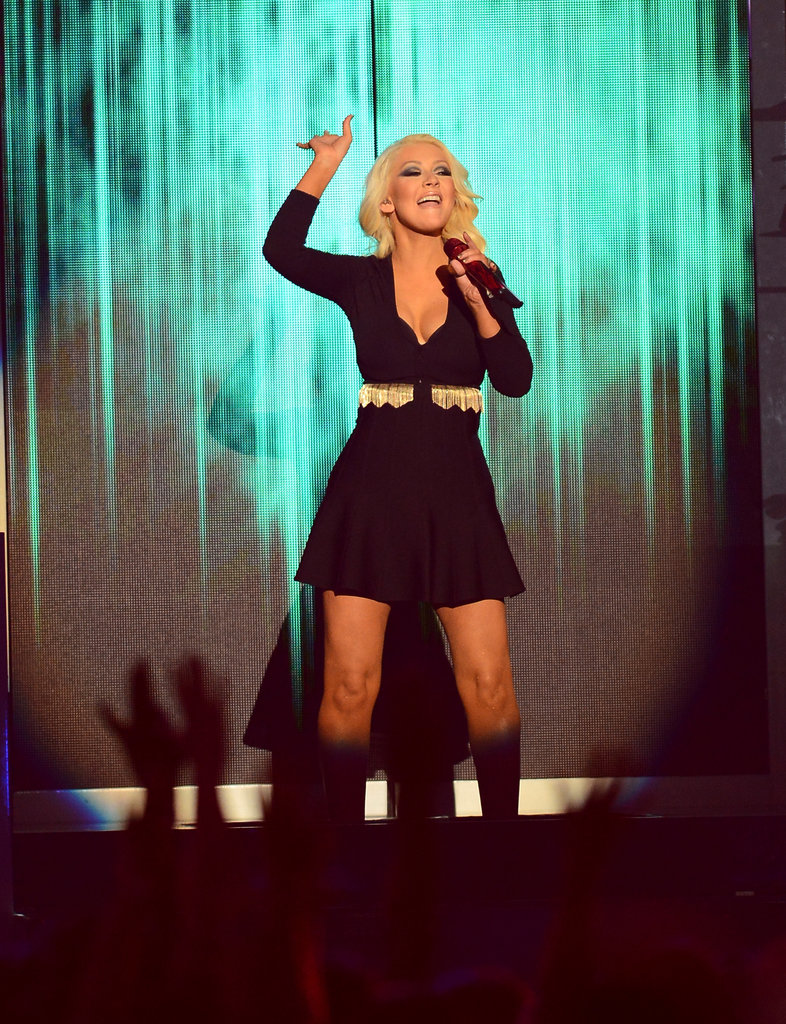 Christina Aguilera pumped up the crowd.