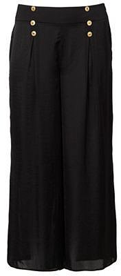 Black military-style buttoned palazzo pants