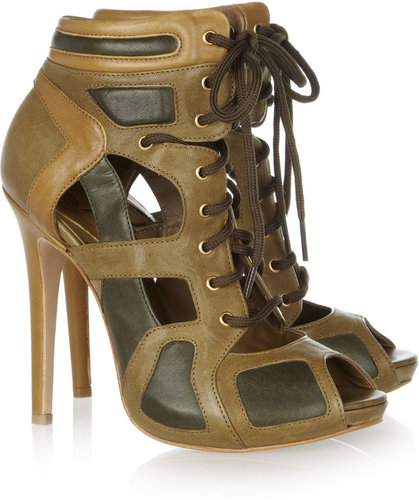 McQ Alexander McQueen Cutout leather ankle boots