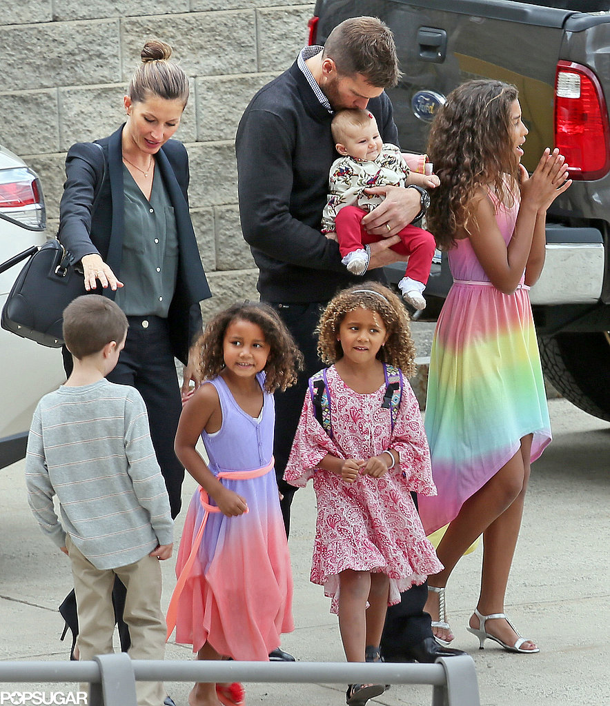 Tom Brady kissed his daughter Vivian as he headed to his sister's graduation at Boston University.