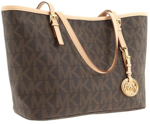 MICHAEL Michael Kors - Jet Set Travel Logo Small Tote (Brown) - Bags and Luggage