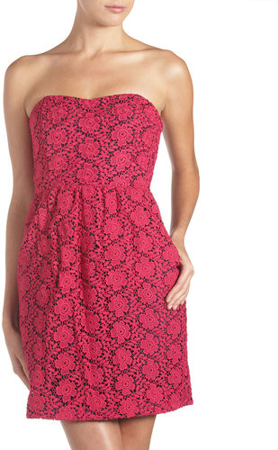 JB by Julie Brown Shawn Lace Strapless Dress, Pink/Navy