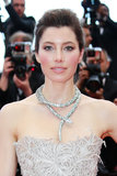 Jessica Biel supported her husband, Justin Timberlake, at the Cannes premiere of Inside Llewyn Davis wearing rosy pink cheeks, a pop of rose lipstick, and a touch of eyeliner.
