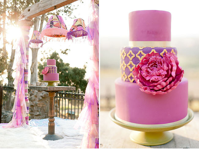 We can't get over how whimsical and stunning this vibrant purple cake is.  Photo by Erin Hearts Court via Green Wedding Shoes