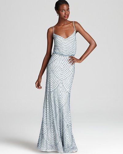 Adrianna Papell Beaded Gown - Sleeveless Blouson