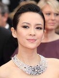 Zhang Ziyi wore a large diamond collar.