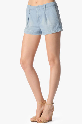 Pleated Short In Tencel Denim
