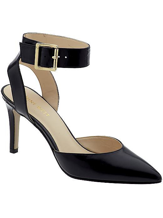 The Callen from Nine West is the perfect staple. It has a three-inch heel to get me through the workday but can easily be worn for drinks after work or on a night out on the town. Pointy-toed shoes are chic, and I love the pop of gold on the buckle! See more Style Shortcuts