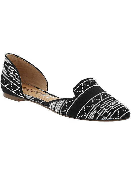 I love the style and price of these Report flats. The black-and-white pattern is easy to wear and can be paired with cutoffs, jeans, or even a little black dress.  Check out more Girl on a Budget must haves at Piperlime.  See more Style Shortcuts