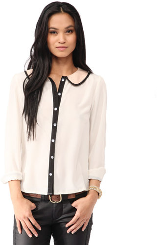 FOREVER 21 Contrast Peter Pan Collar Shirt