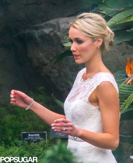 Katrina Bowden wore a white wedding dress for her nuptials with Ben Jorgensen.