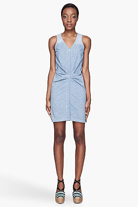 SEE BY CHLOE Pale blue denim Waist-Gathered Dress