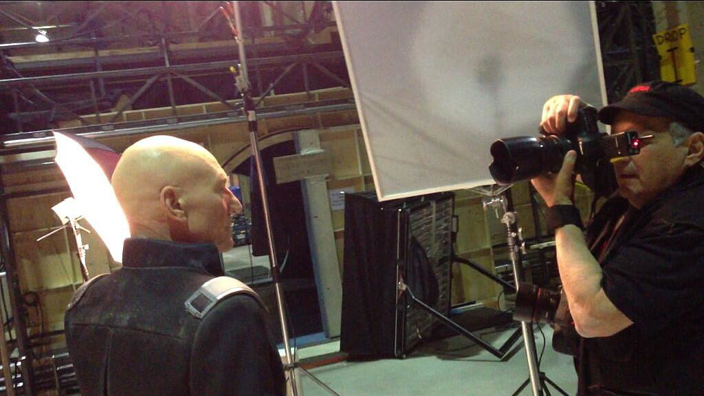 Sir Patrick Stewart posed for the camera as an older Professor X. Source: Twitter user BryanSinger