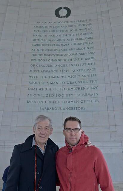 Sir Ian McKellen and the director stopped for a picture in front of some epic words. Source: Twitter user BryanSinger