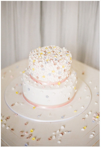 Count this cake sprinkled with edible flowers as one of the prettiest we've ever seen.  Photo by Feather and Stone Photography via 100 Layer Cake