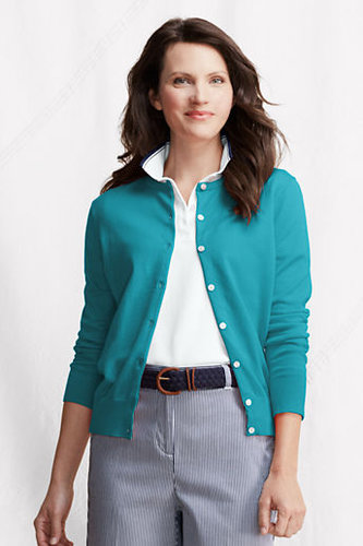 Women's Regular Fine Gauge Supima Crew Cardigan