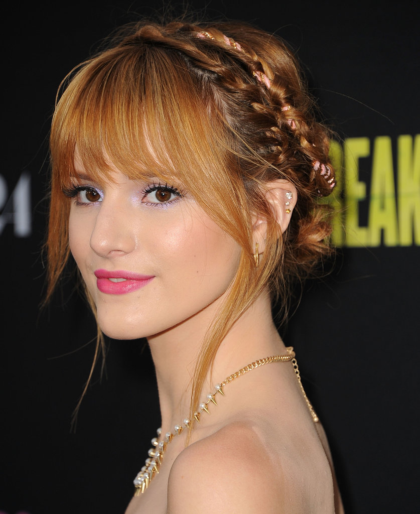 Bella Thorne twisted a pink ribbon into her braids at the Spring Breakers premiere for added panache.