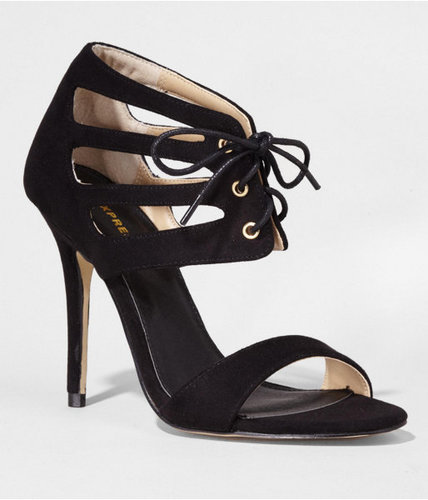 Cut-Out Lace-Up Heeled Sandal
