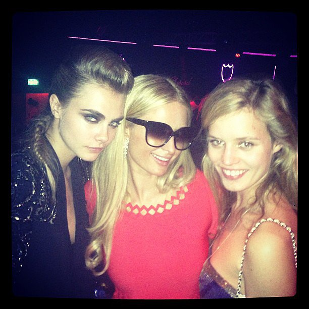 A sunglasses-clad Paris Hilton partied with Cara Delevingne and Georgia May Jagger. Source: Instagram user parishilton